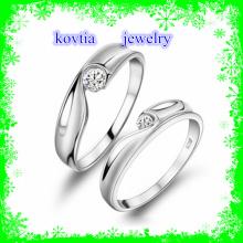 Couple bijoux CZ anneau bijoux en or 925 anneaux en argent sterling