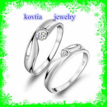Couple wedding CZ diamond ring jewelry 925 sterling silver rings