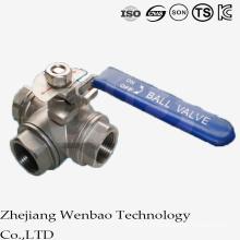 Válvula de esfera de aço inoxidável da linha fêmea de 3PC T-Port com punho