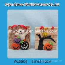 Décorations suspendues en céramique halloween avec motif fantôme / citrouille / hibou