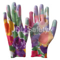 Printed Polyester Work Glove with PU Palm Coated (PN8014-7)