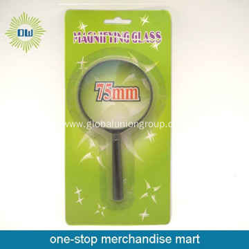 Black frame plastic handle magnifying glass
