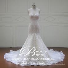 Милая аппликация 2017 декольте Расклешенный Русалка длинный шлейф свадебное платье