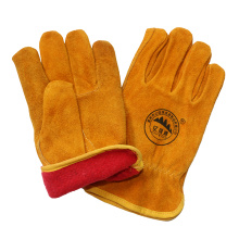 Winter Leather Safety Driver Working Gloves with Full Lining