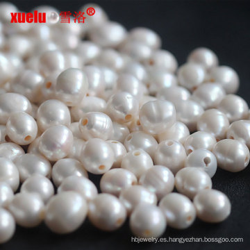 La perla floja de agua dulce del arroz de 12-15m m rebordea la venta al por mayor grande del agujero