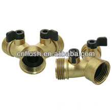 Zinc die-casted with brass color finish 2-way hose shut-off valve