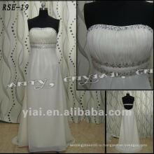 RSE19 Бесплатная доставка Женская мода красивые из бисера Империи пояса Бюст реальный образец на заказ Шифоновое вечернее платье