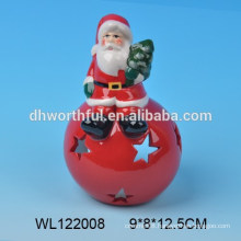 Funny santa claus design ceramic candle holder with ball
