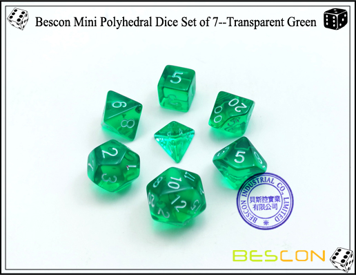 Bescon Mini Polyhedral Dice Set of 7--Transparent Green-1