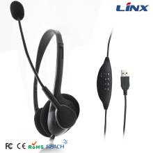 Fone de ouvido USB para jogos OEM com microfones para Skype