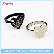 Ring designs for wo men heart rings with bible cross black and sliver titanium ring