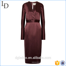 2017 V-neck 100% silk women elegant long one piece dress with belt