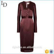 2017 com decote em v 100% mulheres de seda elegante longo de uma peça vestido com cinto