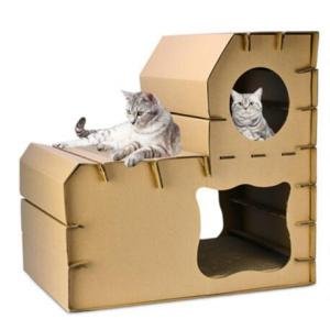 Corrugated paper ladder cat house