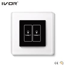 Quadro do esboço do vidro do painel de toque do interruptor da iluminação de 2 grupos (HR1000A-GL-L2)