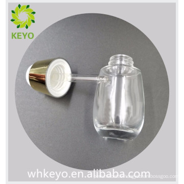 30ml luxury clear colored empty essential oil foundation cosmetic packing glass dropper bottle with press dropper