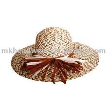 Señoras moda sombrero de paja con borde ancho
