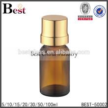 botella de cristal ambarina del aceite esencial con el dropper, botella de cristal del aceite con el casquillo de oro, botella de cristal del aceite para la venta