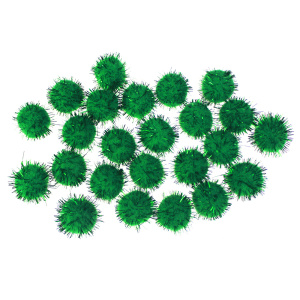Green colors glitter pompom assortment