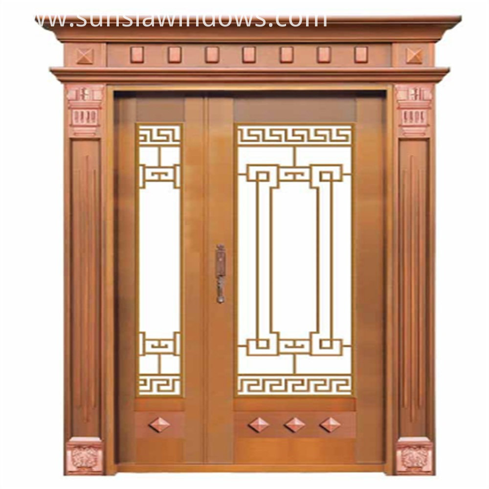 copper door with son and mother design