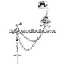 Crânio e cruz piercing orelha corrente rosa ouvido punho jóias