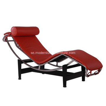 Le Corbusier LC4 Red Leather Chaise Lounge