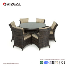 Outdoor Rattan 6-Seater Round Dining Set OZ-OR069