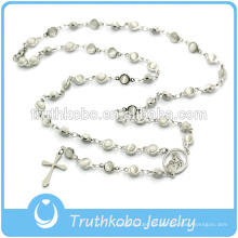 Joyería religiosa cristiana Tiger Eyes Stone Collar de cuentas de acero inoxidable con Jesús Sideway Cross Rosary Wholesale