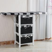 3 cestas de lavandería baño mesa de planchar mesa de gabinete plegable con cajones de almacenamiento