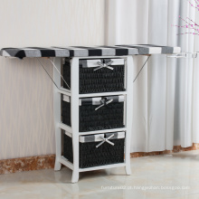 3 cestas de lavanderia banheiro dobrável mesa de tábua de passar roupa com gavetas de armazenamento
