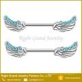 O aço cirúrgico personalizado multi CZ Jeweled o anjo voa o Barbell Piercing do anel do bocal
