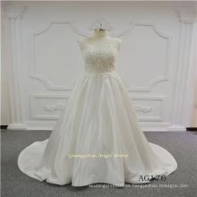 Satin Illusion Back Sexy 2017 último vestido de novia