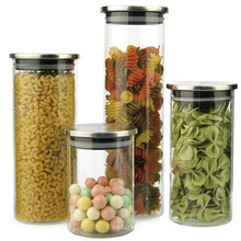 Metal Lid Borosilicate Glass Tea Canisters