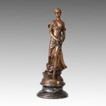 Classical Figure Statue Lady Rose Bronze Sculpture, G. Michel TPE-119