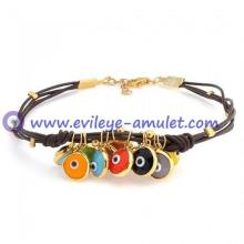 Multi Color Evil Eye Brown Leather Bracelet 7.5in