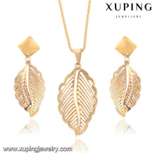 63914-Xuping New Stylish Stainless Steel Leaf Shape Jewelry Set