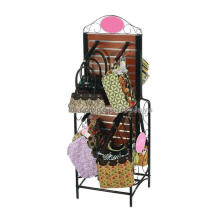 Custom Wooden Slatwall Hanging Tote Bag Display Fixture, Floor Retail Handbag Display Fixtures