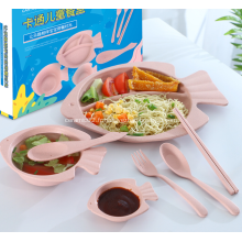 Ensemble de vaisselle pour enfants en paille de blé sain