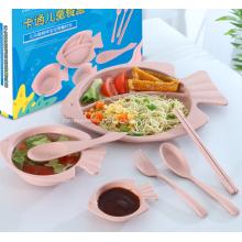 Conjunto de talheres de palha de trigo saudável para crianças