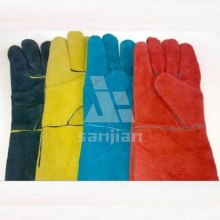 Color Double Plam Leather Welding Safety Glove with CE Work Glove