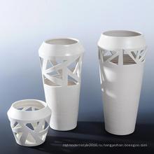 Креативный дизайн Белый фарфор Декоративная ваза для офисных этикеток (A0804)