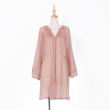 Прозрачное мини-платье из настоящего шелка с длинными рукавами