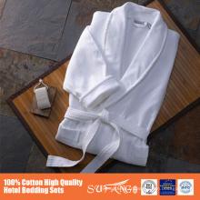 100 peignoir de gaufre de qualité d'hôtel de coton avec la bordure
