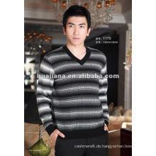 stilvolle Muster Männer Kaschmir V-Ausschnitt Pullover