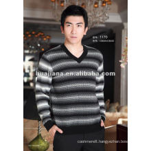 stylish pattern Men's cashmere v neck sweater