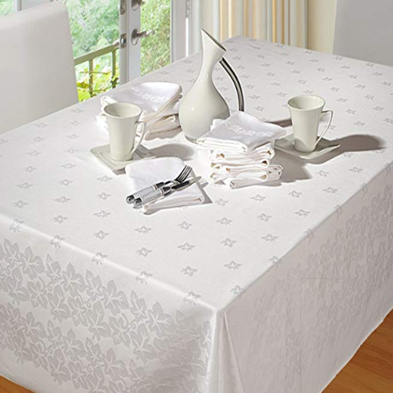 White Ivy Leaves Damask Table Cloth