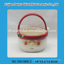 Beautiful ceramic baskets with santa claus pattern