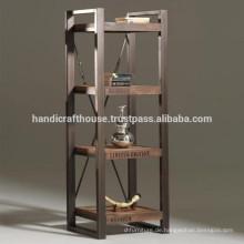 Industrial Vintage Metal und Hölzerne 4 Tier Shelves Display Rack