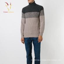 Sweater de caxemira pesada de malha de gola alta para homem