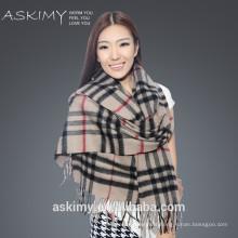 2015 de alta calidad pura mongol escocés 100% bufanda de cachemira